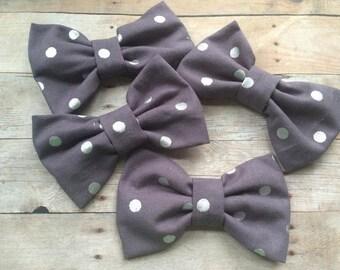 Gray Polka Dot Fabric Hair Bow, Girls Hairbow, Bow Tie