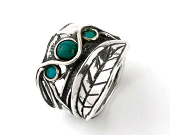 Sterling Silver Ring, Handmade Turquoise ring , onyx ring , labradorite ring, Hippie Jewelry