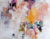 "DISCOUNTED Original Abstract Painting UNSTRETCHED Modern Minimalist White Pastel Colors Pink Yellow Purple  20""x24"""