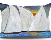 Sailboats regatta nautical boat pillow sham from my art