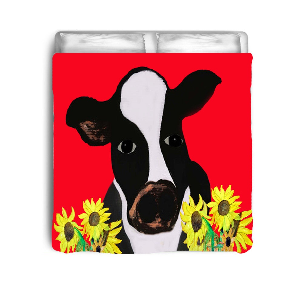 Cow And Sunflowers Bedding Comforter Or Duvet Cover From My