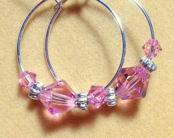 Rose Swarovski crystal loop earrings. Sterling silver hoop earrings. Crystal and sterling silver hoop Earrings