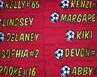 Lot of 10 Custom Personalized Embroidered Soccer Team Headbands Name and Number