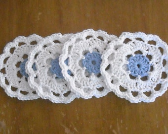 Blue and White Crocheted Coasters