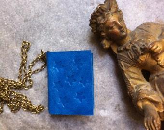 Blue mini book necklace