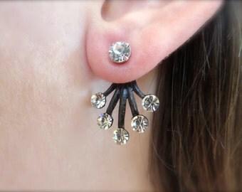 Clear Crystal Brass Black Sunburst Ear Jackets Earring Stud Sun Burst Post Split Front Back In Out Jewelry Swarovski