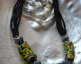 Yellow and blue African bead necklace
