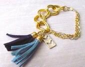 Chain Tassel Bracelet, Tassel Bracelet, Leather Tassel Bracelet, Chunky Chain Bracelet, Chevron Bracelet, Gold Chain Bracelet, Navy Blue