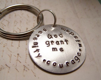 Serenity Prayer Keychain. Serenity Courage Wisdom . Grace. Peace. Recovery. Acceptance