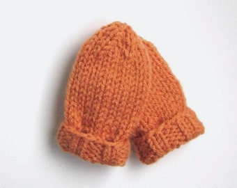 Orange Baby Mittens Hand Knit, Ready To Ship, 0 to 3 months Baby Boy Mittens Baby Girl Warm Clothing Infant Thumbless Mitts Baby Shower Gift