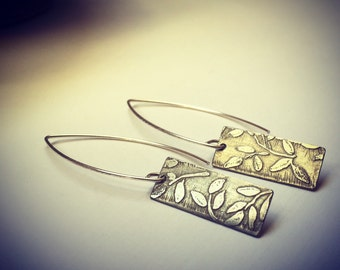 Etched Nickel Tree Branch Earrings