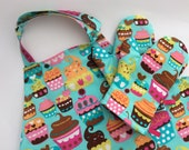 Adjustable Child Toddler Apron Pretend Play Kitchen Set Oven Mitts - Pink Orange Chocolate Cupcakes on Turquoise