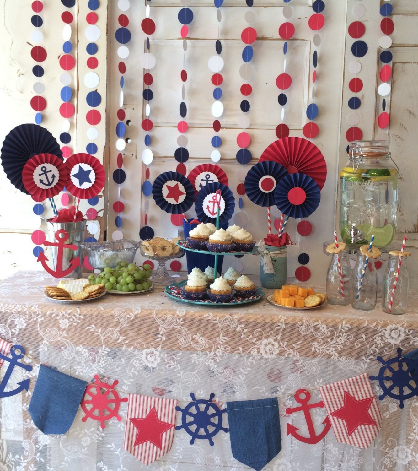 Red white and blue party decorations polka dot backdrop or - Red white blue decorations ...