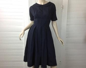 50s Navy Blue Dress- Peter Pan Collar- 1950s- Small- Pleated Bombshell School Dress