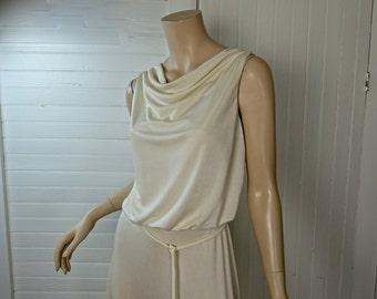 Disco Goddess Dress in Ivory- 1970s / 70s Draped Maxi Dress- White / Cream- Small- Studio 54 Wedding