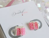 Scented strawberry buttercream birthday party cake Slice Earrings-Miniature food jewelry