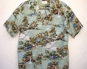 60s Hawaiian Helena's Surf Shirt Mens M, Tropical Island Print Cotton Sage Green Waves Clouds Mens size M M/L made in Hawaii USA