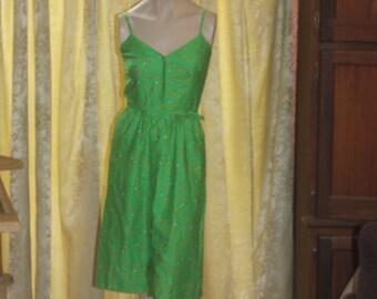 Vintage Malia 1960's fitted bold Hawaiian Dress S Small
