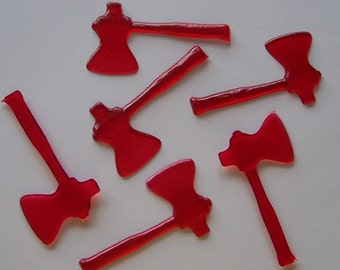 6 Miniature Ax Plastic Cake Toppers