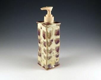 Ceramic Soap Dispenser Handmade in Stoneware - Yellow and Purple - 373