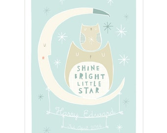 Shine Bright Little Star - Personalised Birth or Christening Print (Choice of 2 Colour options)