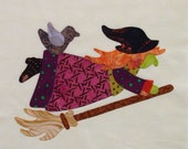 Appliqued Quilt Block, A Halloween Witch on a Broom and a Black Crow