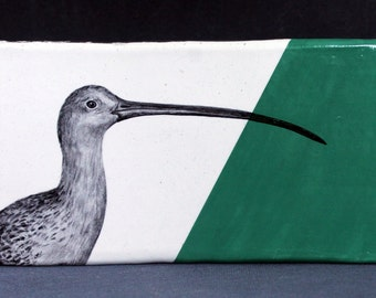 Hand Painted Long Billed Curlew Portrait Wall Tile Emerald Green
