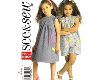 Girls Jumper & Jumpsuit Pattern Butterick 5198 Romper Ruffle Sleeve Playsuit Girls Sewing Pattern Size 4 5 6 UNCUT