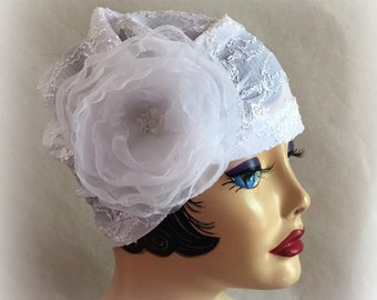 White Lace Hat, Turban Cloche, Stretchy Lace, Evie Cloche, Wedding Hat, Bridal Hat, Chemo Hat, Themed Party, Flapper Hat, Handmade in USA