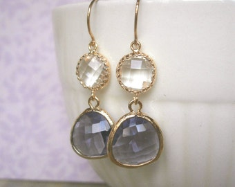 Amethyst Purple Earrings, Clear Crystal Earrings, Gold Earrings