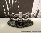 Bat Book/Scroll Stand dollhouse miniature in 1/12 scale
