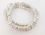 Bracelet SET Silver Czech Glass Baby, Toddler, Kids, Womens Dainty Bracelet - Preppy, Beach, Boho
