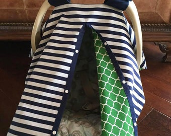 Baby Car Seat Cover - Navy 1/2 inch Stripe with Green Quatrafoil - All Cotton - Baby Boy - Canopy Cover - Ships Fast