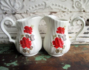 Vintage lot of 2 English pottery Royal Caldone Large milk pitchers Red roses