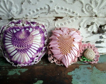 Vintage Crochet and Satin  Heart Shaped Pillows or Pin Cushion lot of 3