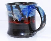Colorful Havana Blue and Amber Rust Ceramic Mug - Handmade- Mug - Cup