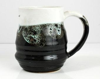12 oz Mug Ceramic Porcelain Black and WhitemCeramic Mug Large