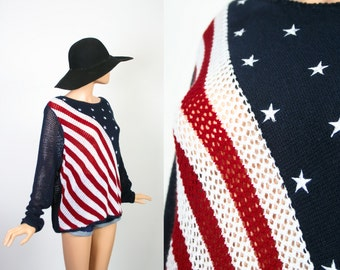 Vintage American Flag Novelty Print Sweater Top / 90s Slouchy Jumper / Grunge Punk / Iconic / 1990s Oversized Knit Shirt / USA