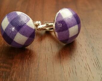 Handmade Royal Purple and White  Gingham Cufflinks