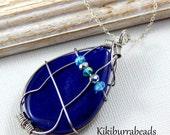 Purple Agate necklace, tear drop agate pendant necklace, wire wrapped pendant necklace,  Sterling Silver Chain