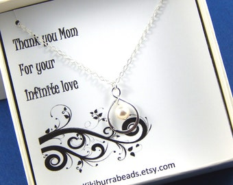 Mother's Necklace -  Sterling Silver Infinity Necklace Gift For Mom Thank You Gift Gift Boxed Jewelry