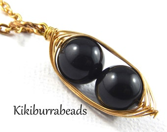Peas In A Pod Necklace - Two Peas In A Pod Gold Necklace Black Swarovski Pearls Choose Your Color