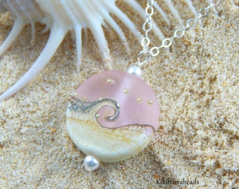 Ocean Wave Necklace - Pink Lampwork Pendant Necklace Sterling Silver Chain