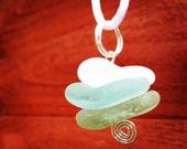 Nesting Aqua, Light Green and White Irish Sea Glass Pendant