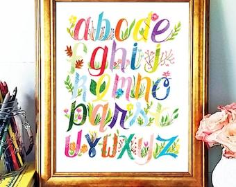 Nursery Print, Alphabet Print, Hand Lettered print, Child's Room Wall Art, Acrylic Paint, Quote Prints, Flower Illustration,Flower Print
