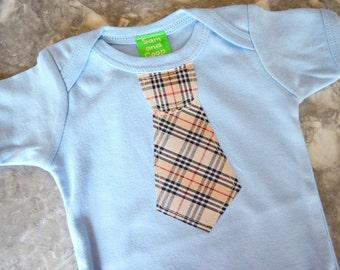 CLEARANCE 70% OFF Tan Tie appliqué on Sky Blue Short Sleeve top,  baby tie onezee, boys tie t-shirt, boys t-shirt, toddler boy, boys tie