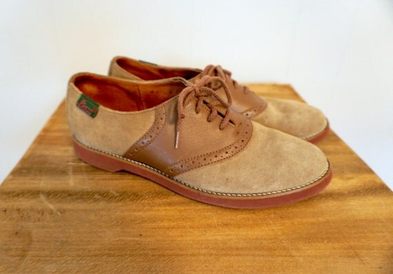 Vintage 2 TONE Brown Oxfords BASS Suede SADDLE Shoes 8.5 Us