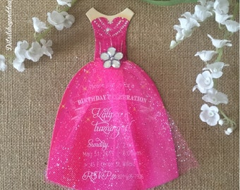 Pink Princess die-cut dress with Glitter Tulle skirt and Rhinestone - birthday invitation - customizable - Set of 12