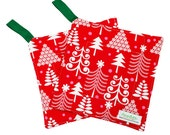 Handmade Floral Potholder -- Heat Resistant -- Fabric Hot Pad -- Red and Green Christmas -- Ready To Ship