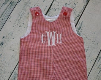 Personalized Boys Gingham Shortall - Jon Jon with Monogram